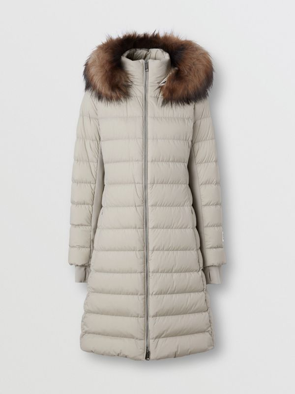 Detachable Faux Fur Trim Hooded Puffer Coat in Neutral Olive - Women | Burberry - cell image 3