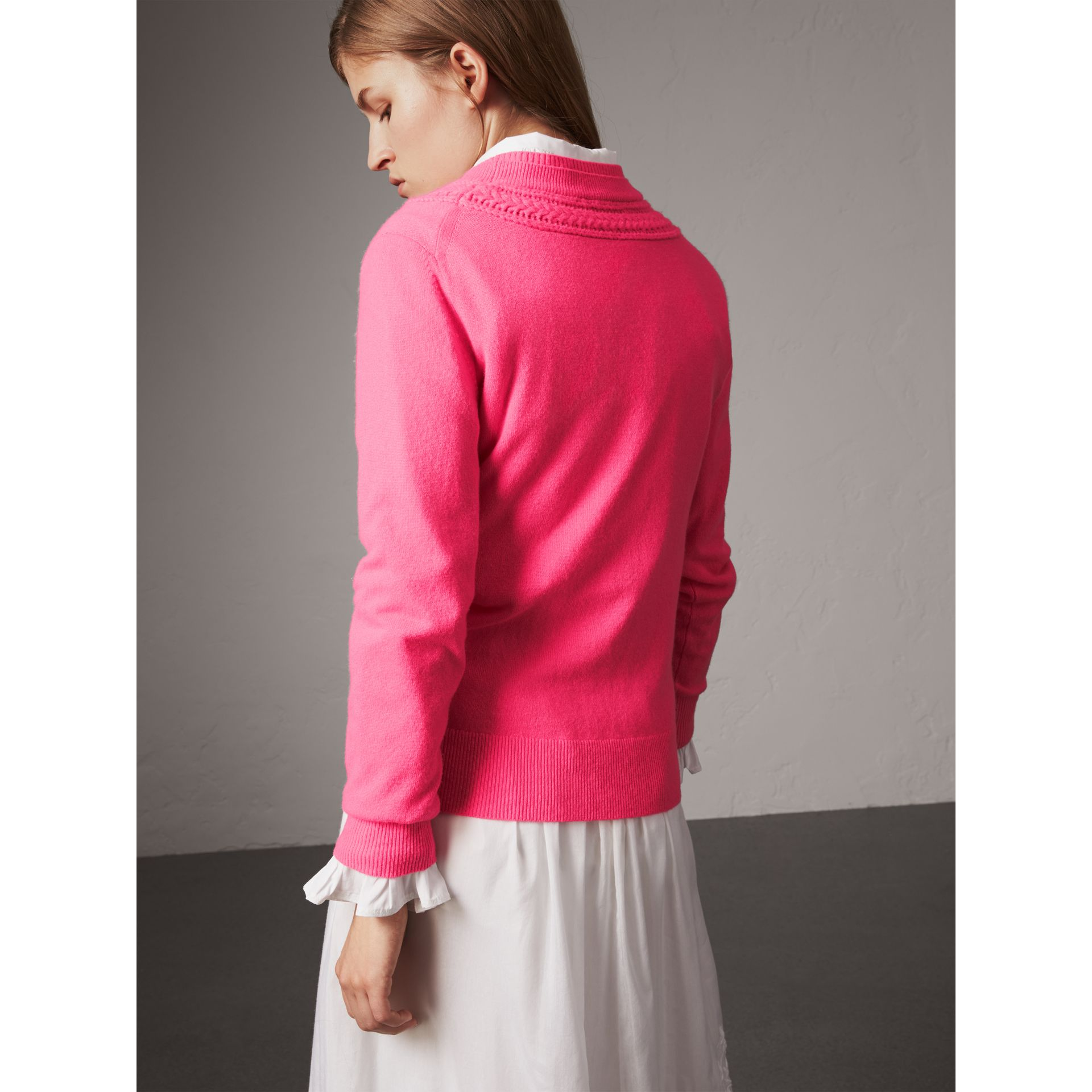 Cable Knit Yoke Cashmere Sweater in Bright Rose Pink - Women | Burberry - gallery image 3