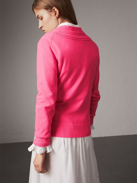 Cable Knit Yoke Cashmere Sweater in Bright Rose Pink - Women | Burberry United Kingdom - cell image 2
