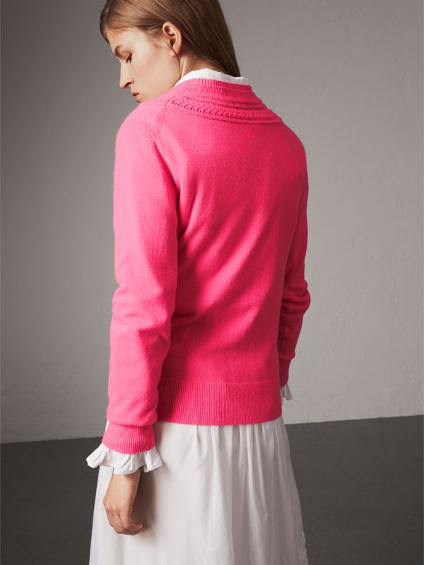 Cable Knit Yoke Cashmere Sweater in Bright Rose Pink - Women | Burberry - cell image 2