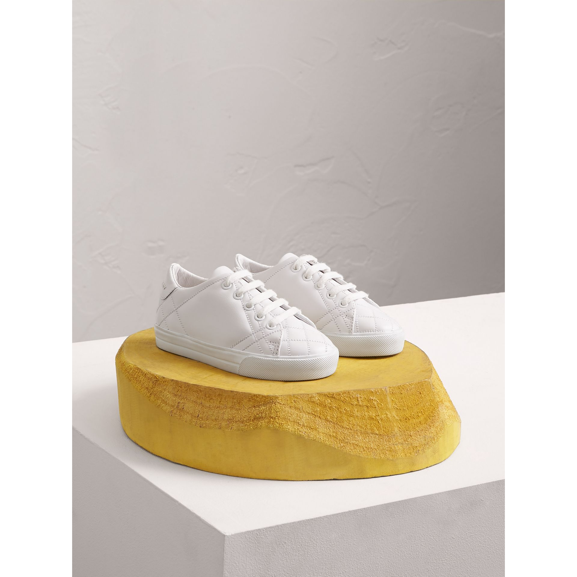 Check Detail Leather Sneakers in Optic White | Burberry Australia - gallery image 0