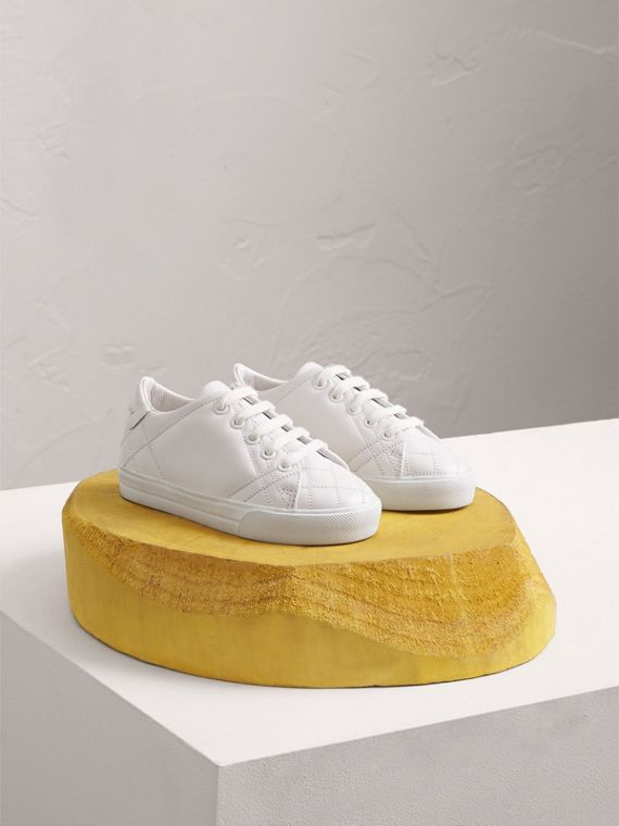 Check Detail Leather Trainers in Optic White