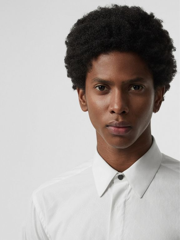 Classic Fit Link Cotton Jacquard Dress Shirt in White - Men | Burberry Australia - cell image 1