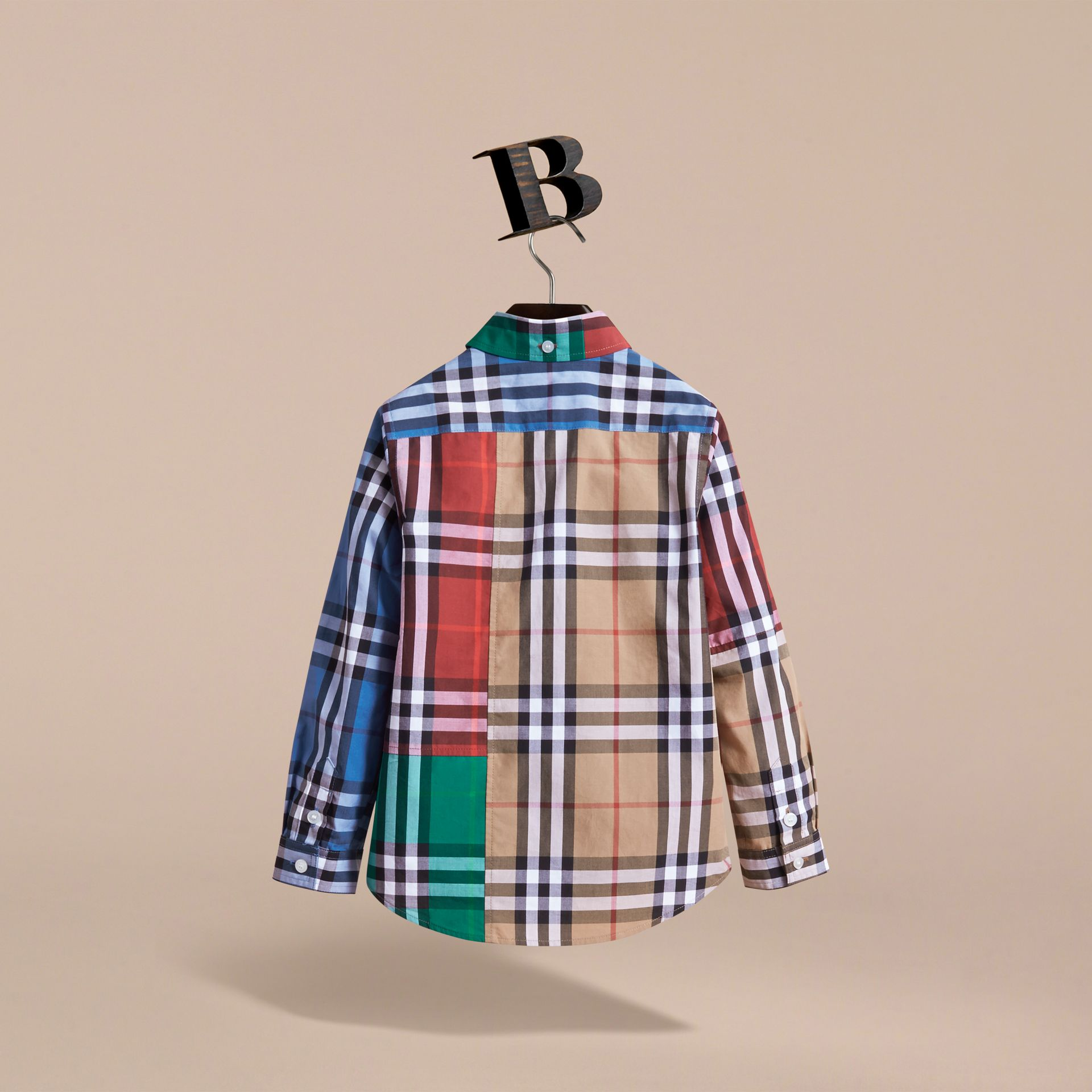 Colour Block Check Cotton Twill Shirt in Camel - Boy | Burberry - gallery image 4