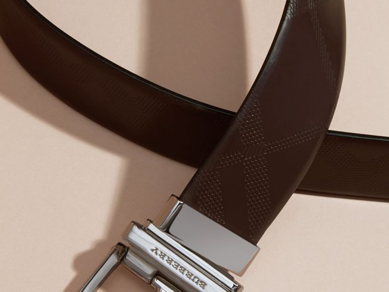 Reversible Leather Belt in Bitter Chocolate/black - Men | Burberry - cell image 1