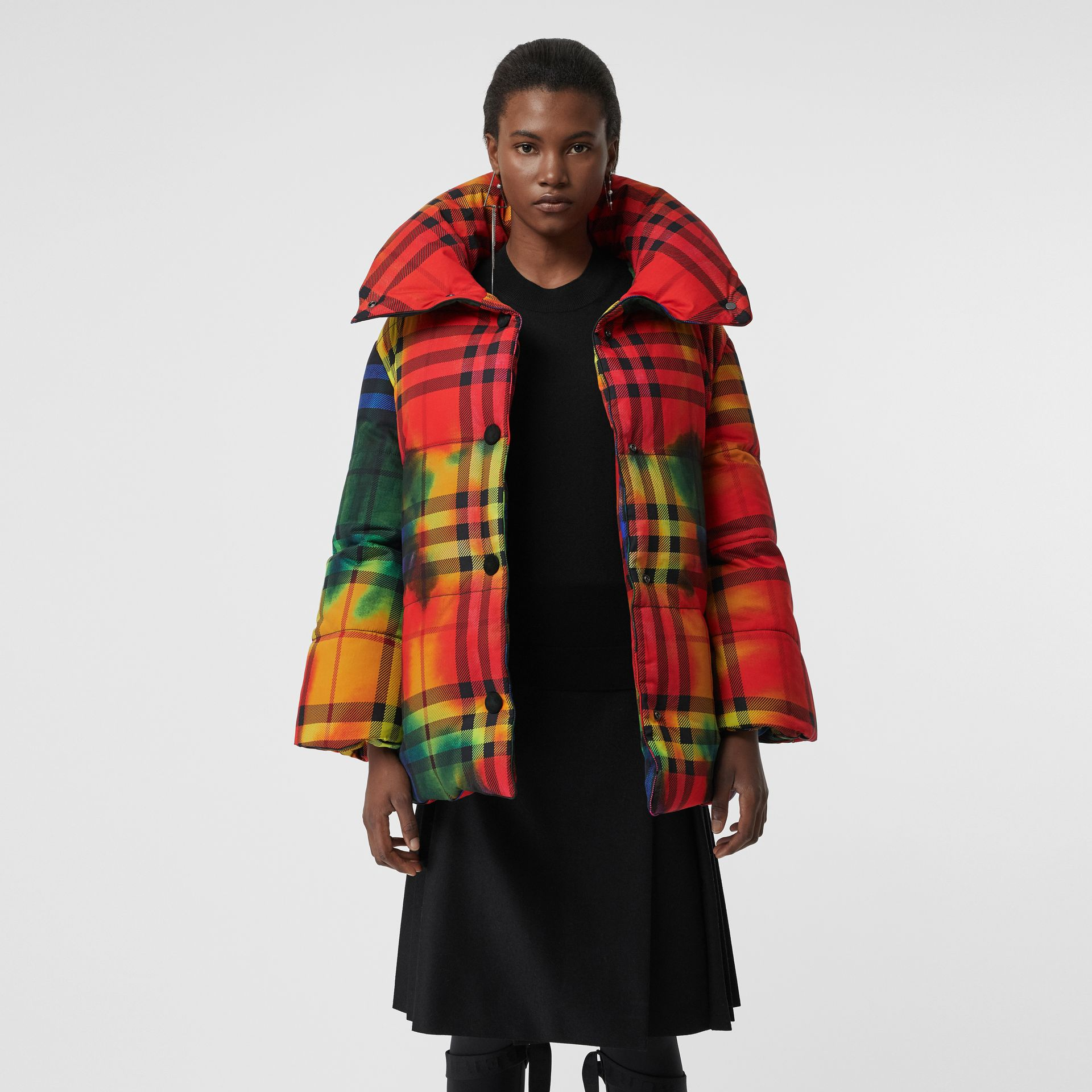 Tie-dye Vintage Check Down-filled Puffer Coat in Bright Red - Women | Burberry - gallery image 6