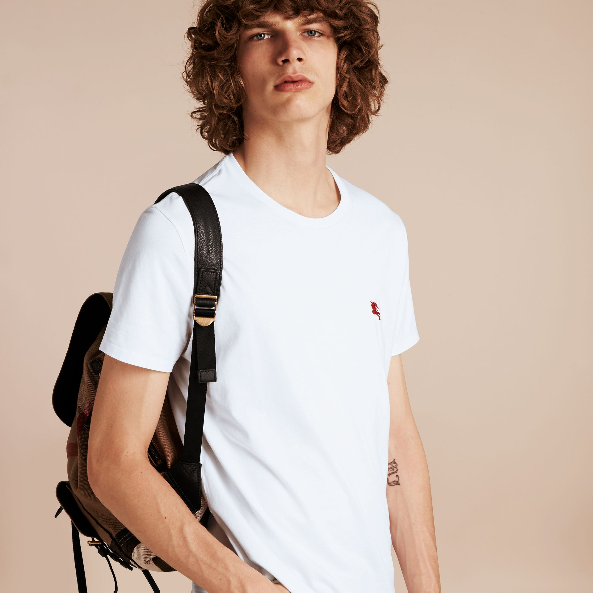 Cotton Jersey T-shirt in Optic White - Men | Burberry - gallery image 6