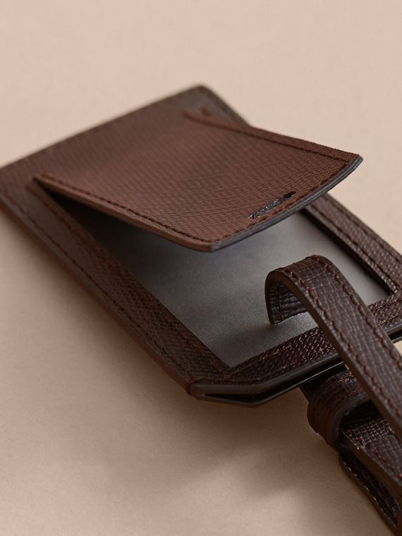 London Check Luggage Tag in Deep Claret - Men | Burberry - cell image 3