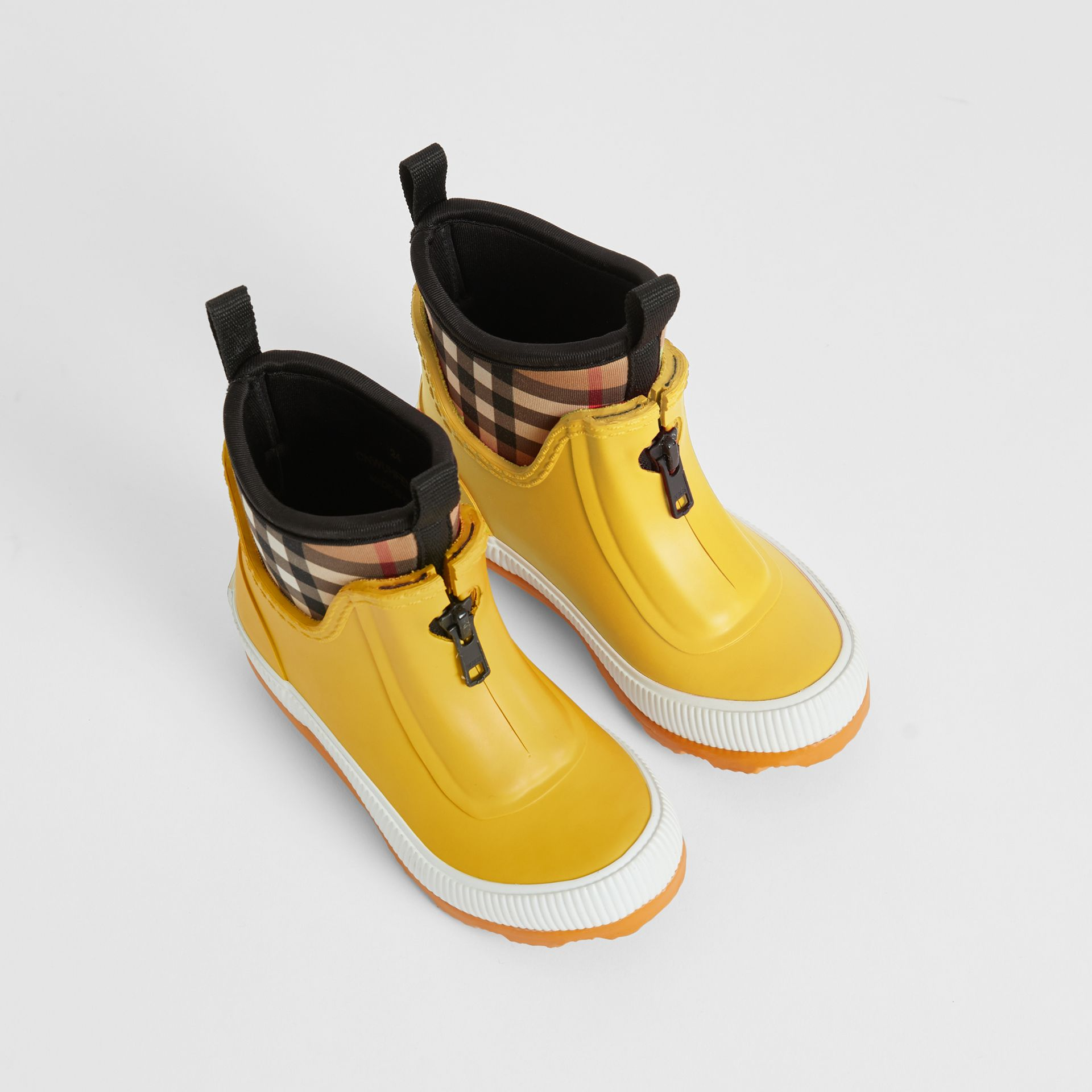 Vintage Check Neoprene and Rubber Rain Boots in Vibrant Lemon - Children | Burberry - gallery image 0