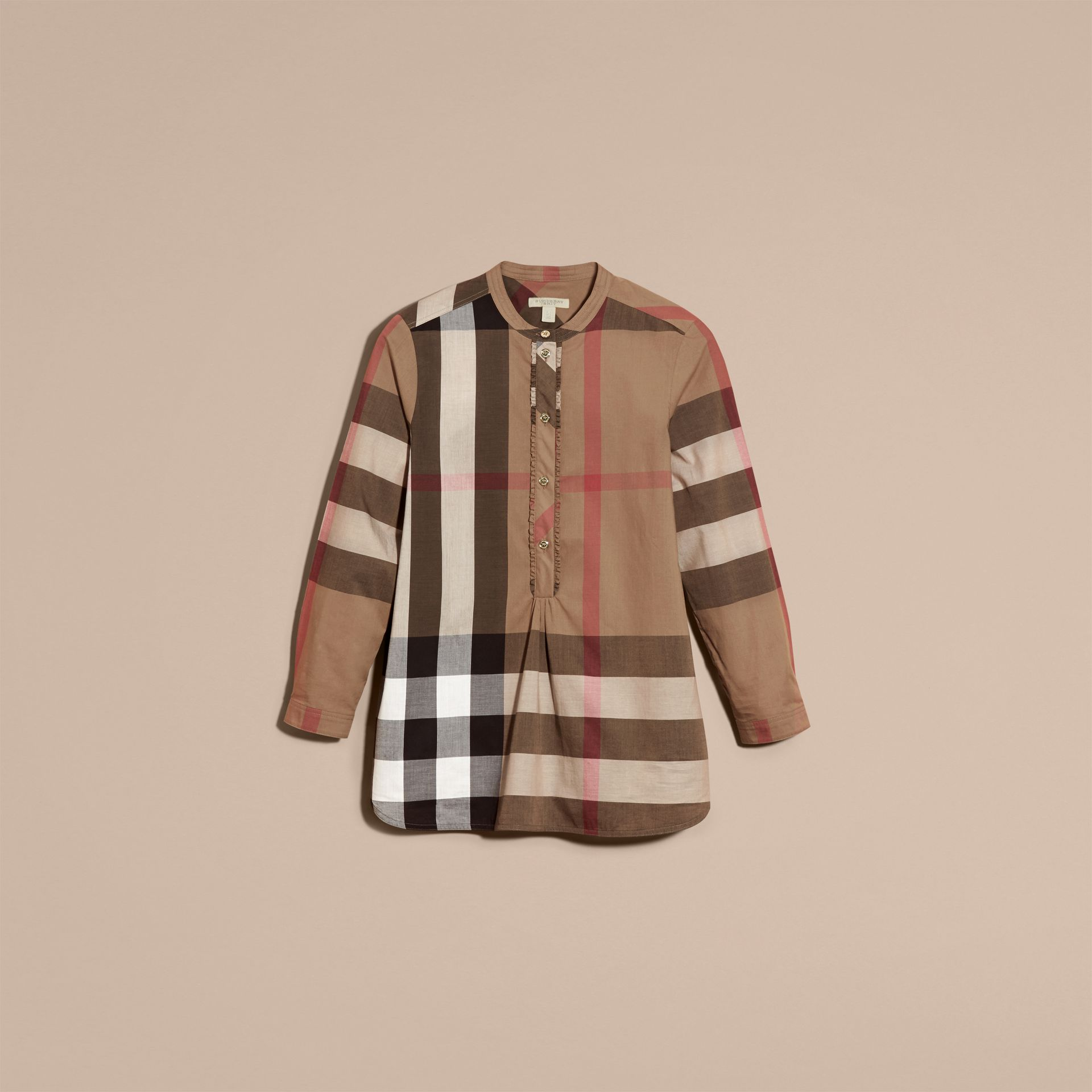 Taupe brown Check Cotton Tunic Shirt Taupe Brown - gallery image 4