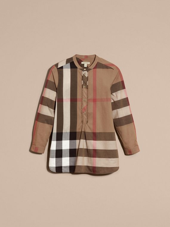 Taupe brown Check Cotton Tunic Shirt Taupe Brown - cell image 3