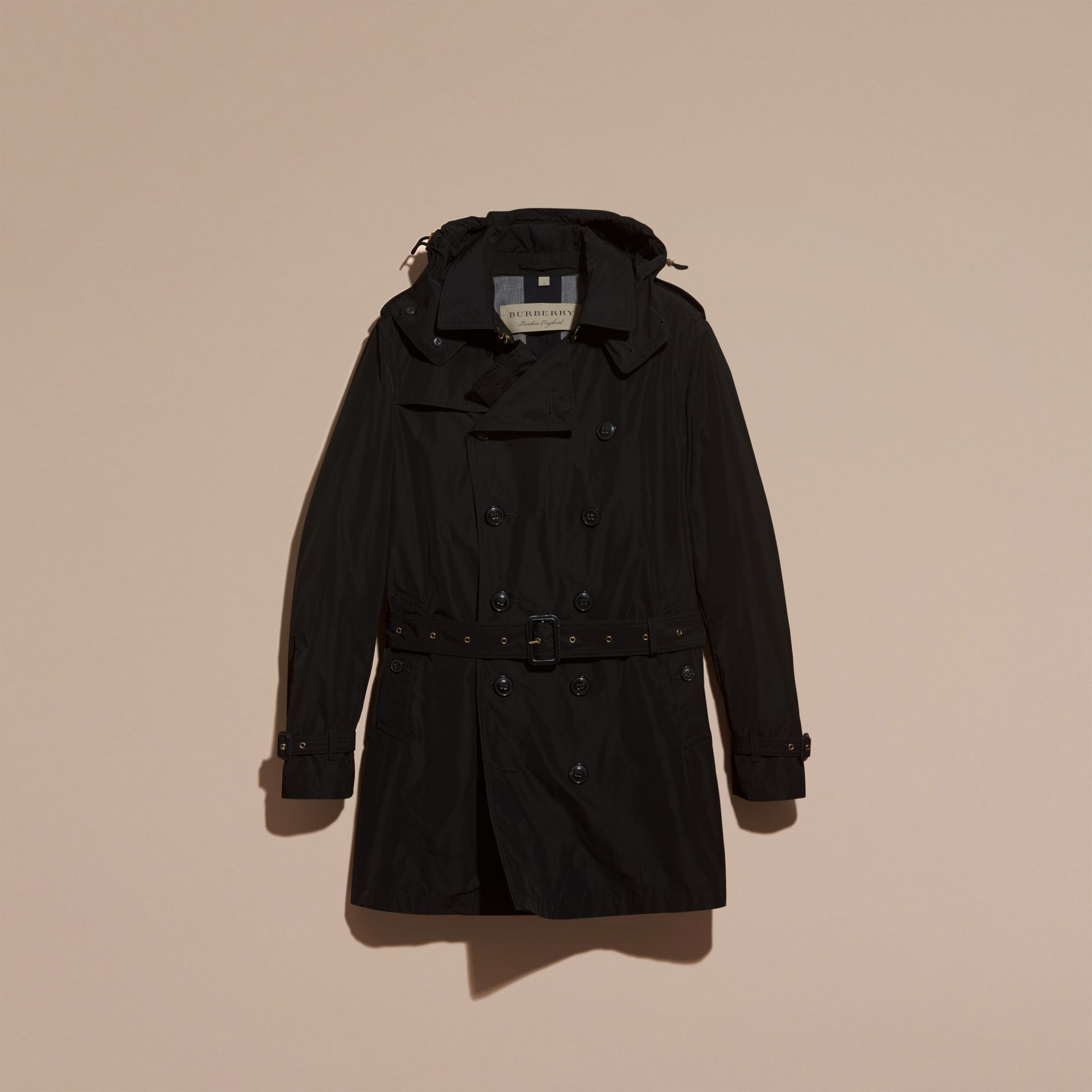 Black Showerproof Technical Trench Coat with Detachable Hood - gallery image 4