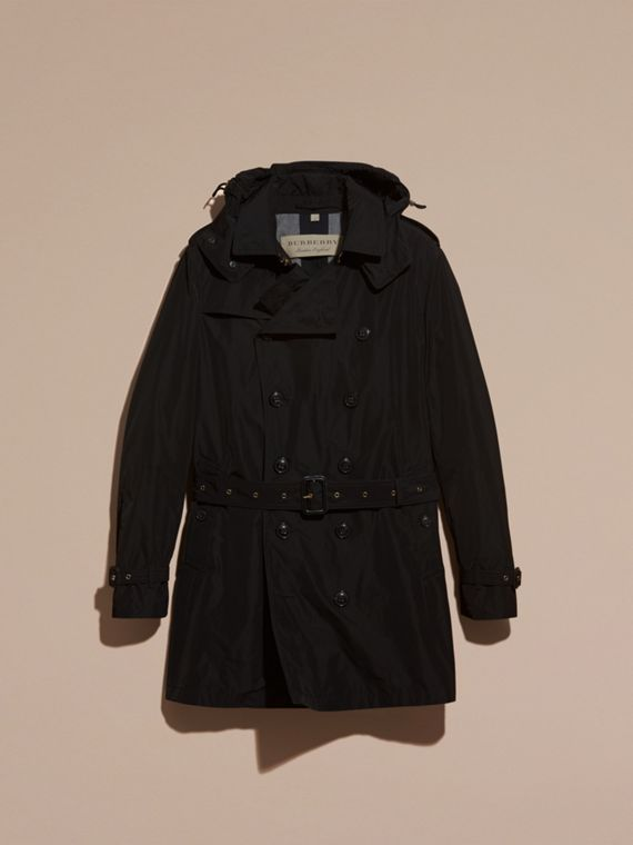 Black Showerproof Technical Trench Coat with Detachable Hood - cell image 3