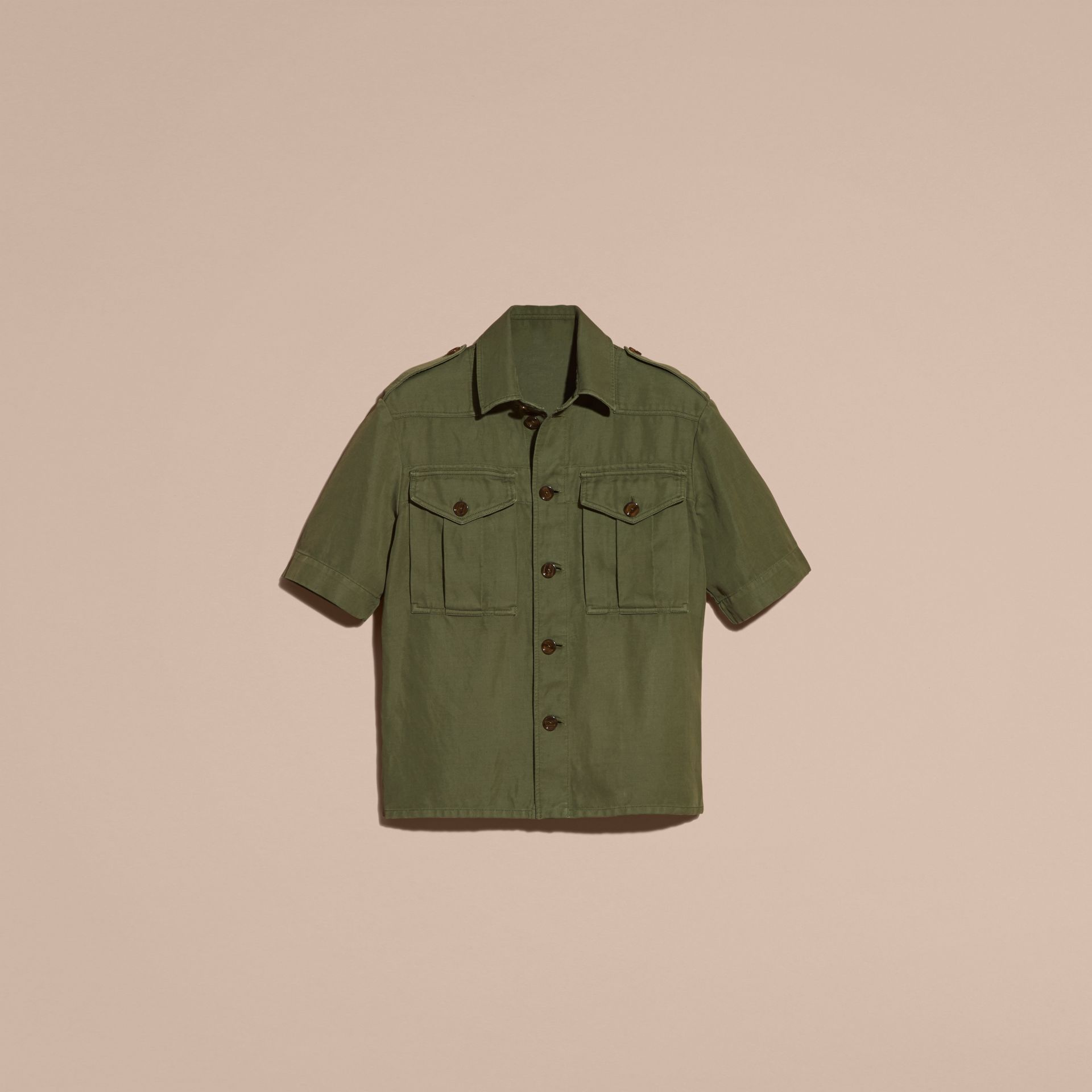 Military green Short-sleeved Ramie Cotton Military Shirt - gallery image 4