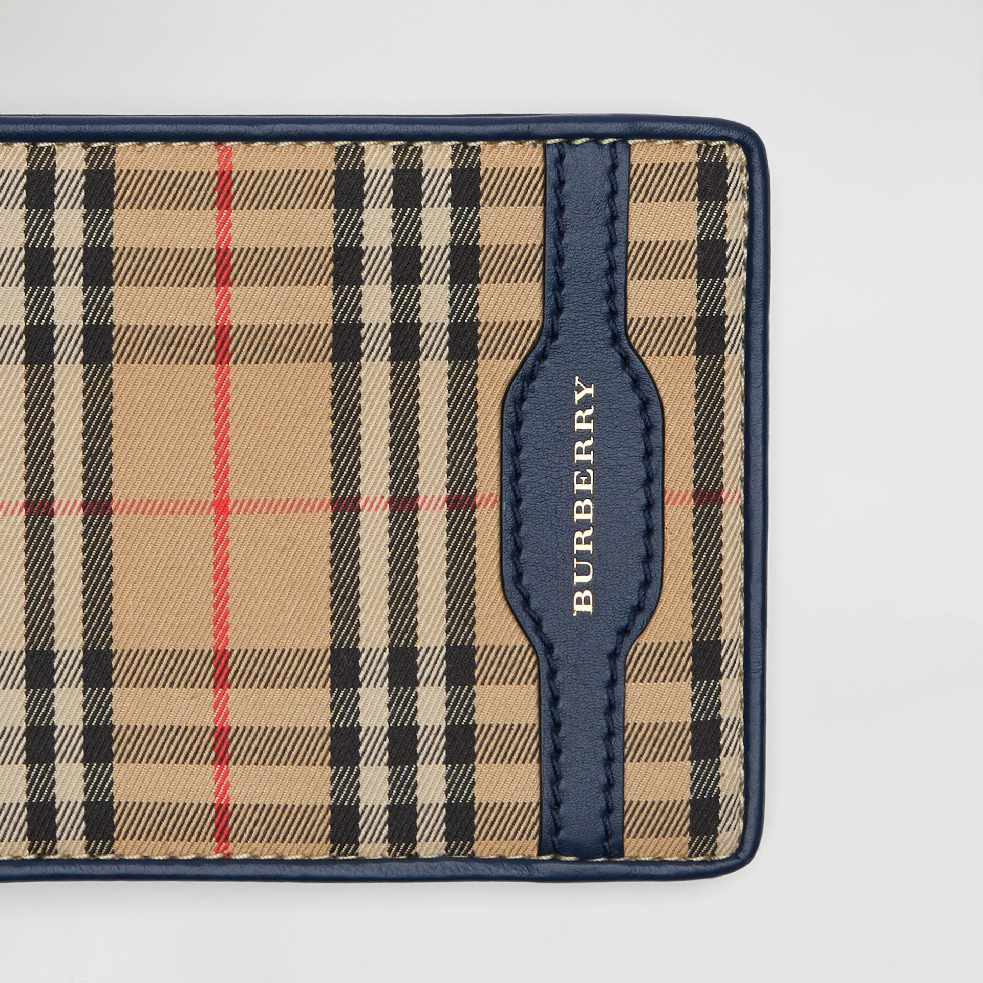 1983 Check and Leather International Bifold Wallet in Ink Blue - Men | Burberry Singapore - gallery image 1