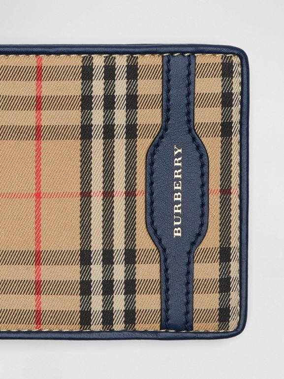 1983 Check and Leather International Bifold Wallet in Ink Blue - Men | Burberry Canada - cell image 1