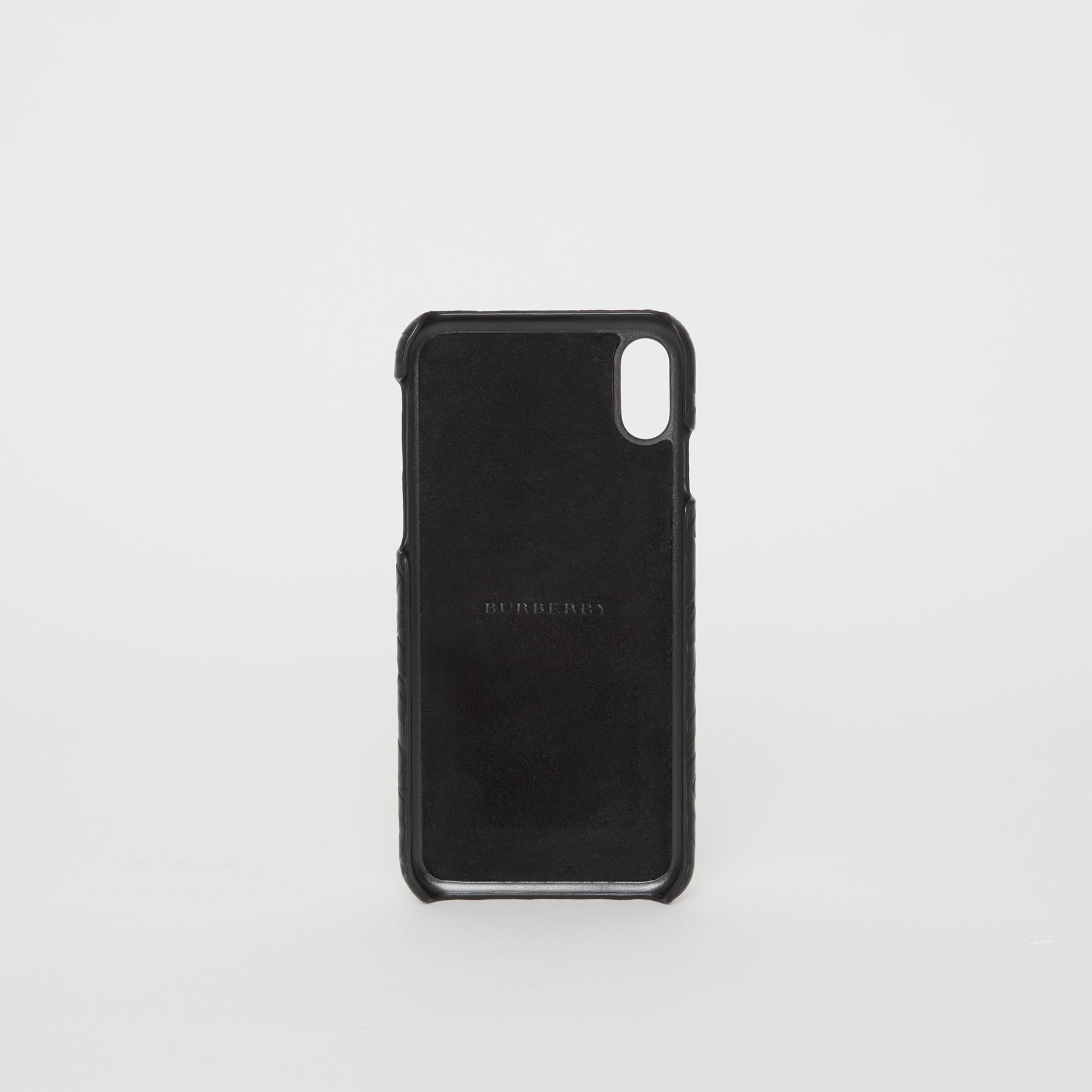 Monogram Leather iPhone X/XS Case in Black | Burberry - gallery image 2