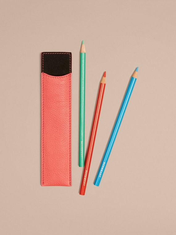 Grainy Leather Pencil Sleeve in Bright Peony | Burberry - cell image 2