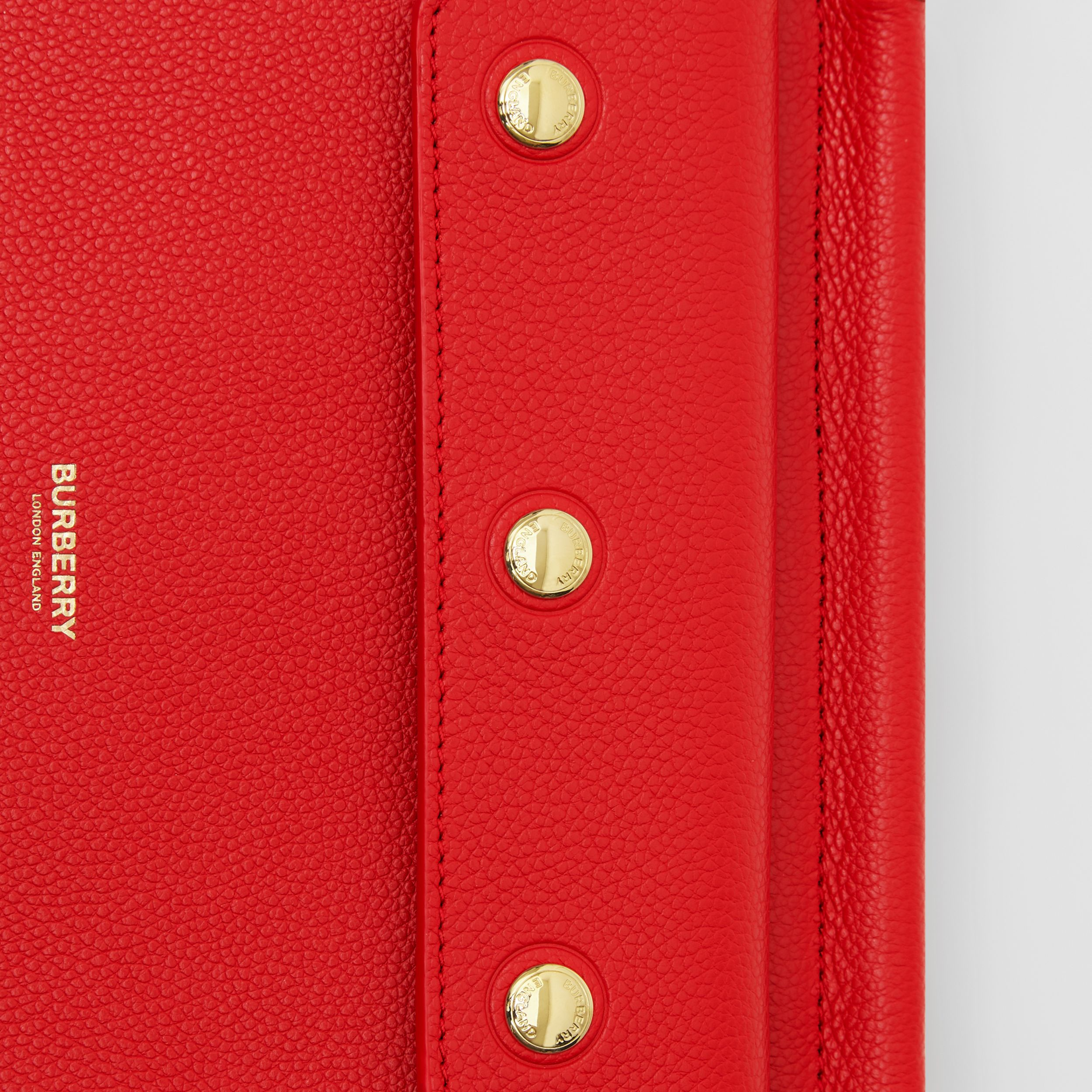 Mini Leather Title Bag with Pocket Detail in Bright Military Red - Women | Burberry - 2