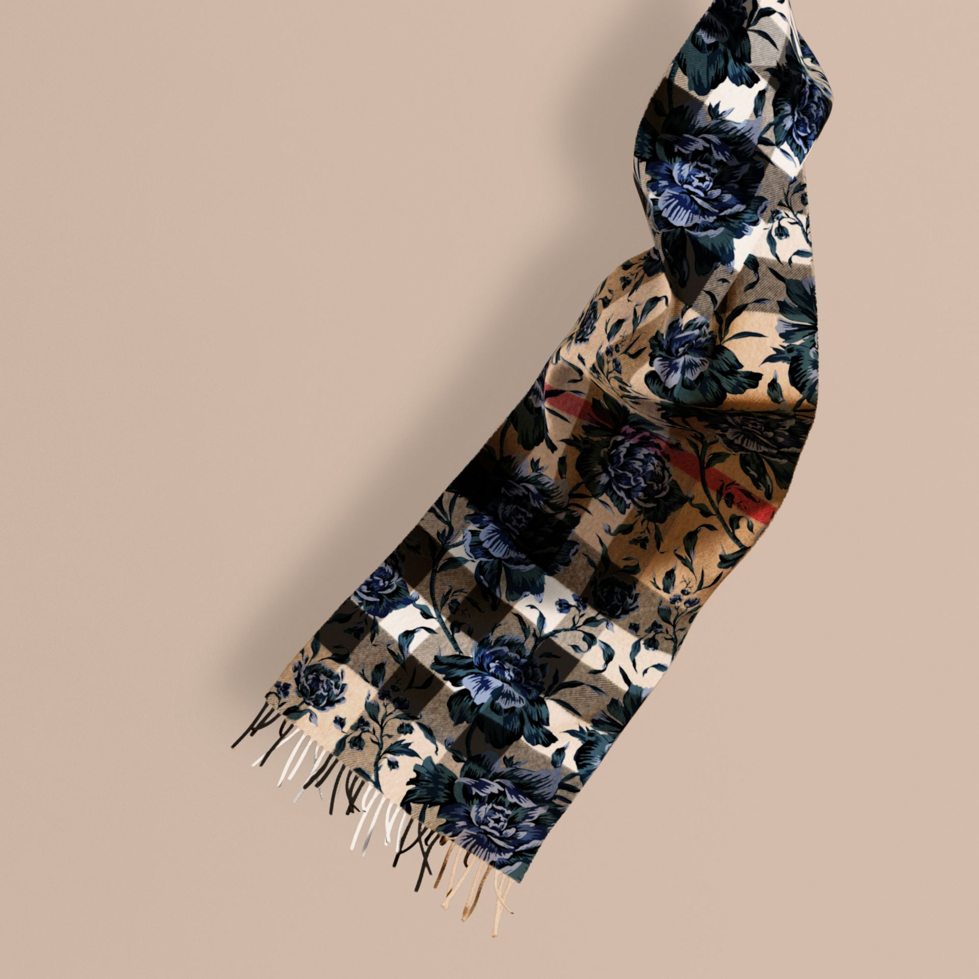 Ink Reversible Floral Print and Check Cashmere Scarf - gallery image 1