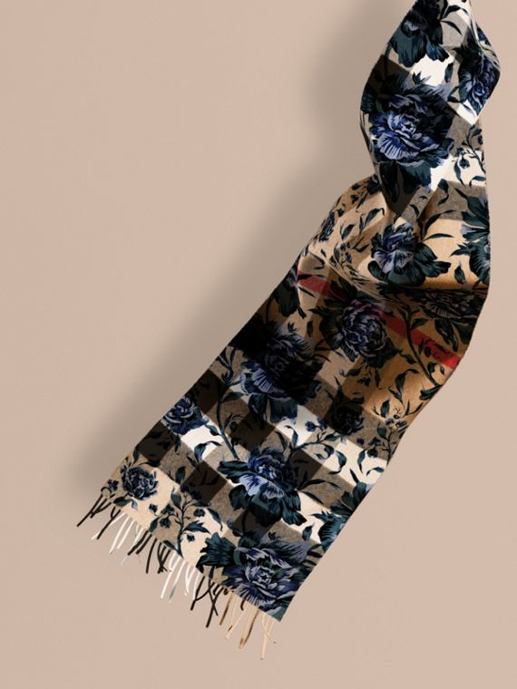 Cachecol de cashmere reversível com estampa xadrez e floral