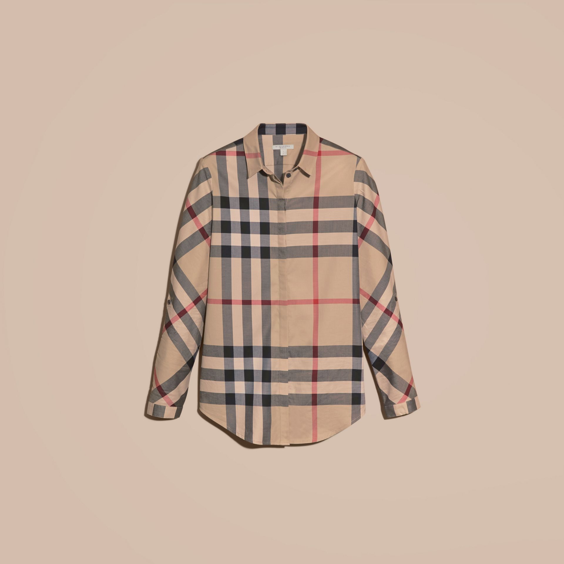 Stretch-Cotton Check Shirt in New Classic - Women | Burberry - gallery image 3