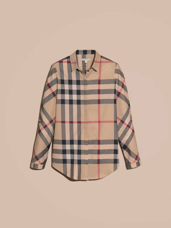 Stretch-Cotton Check Shirt in New Classic - Women | Burberry Canada - cell image 3