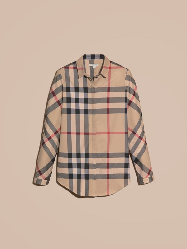 Camicia check in cotone stretch (New Classic) - Donna | Burberry - cell image 3