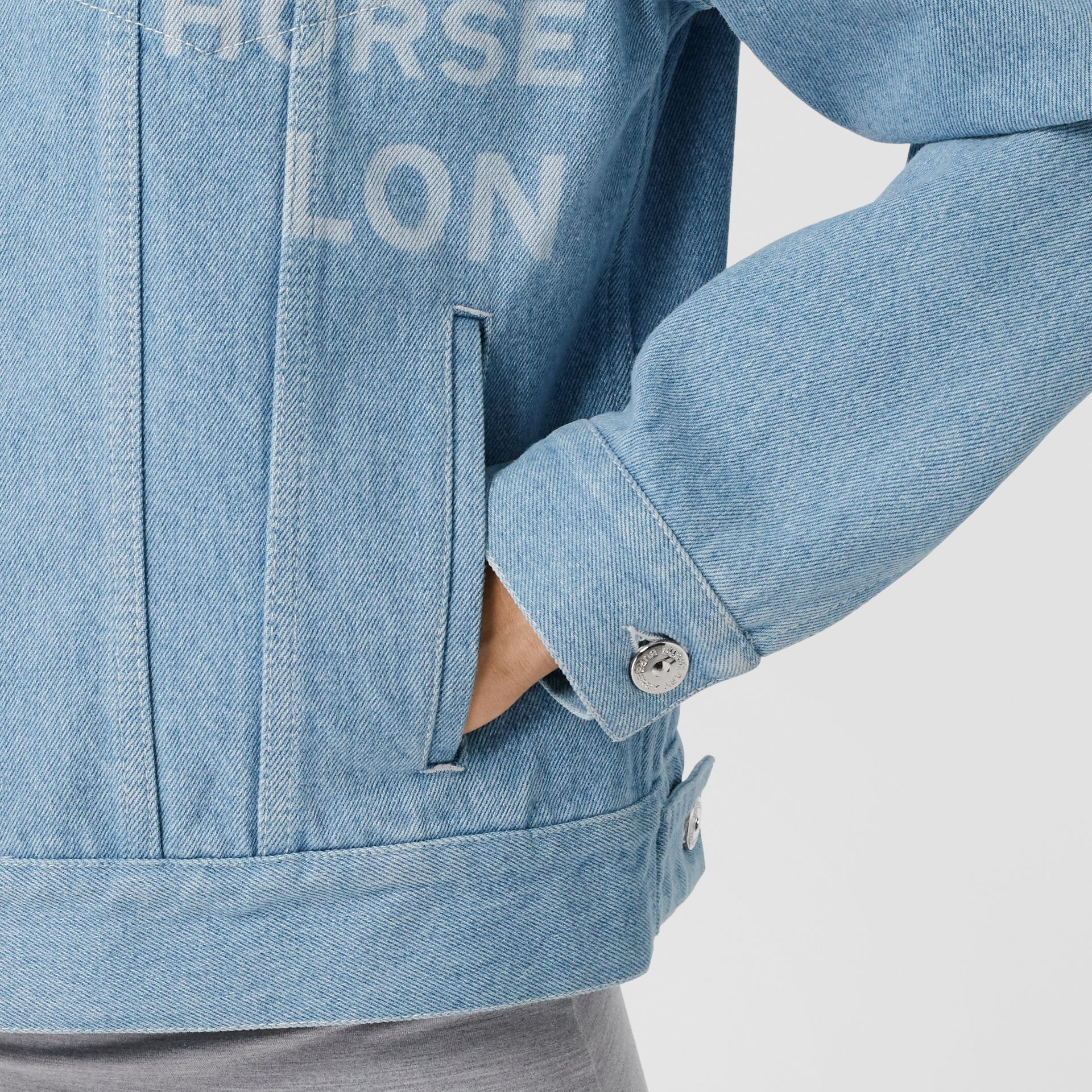 Horseferry Print Bleached Denim Jacket in Light Indigo - Women | Burberry Singapore - gallery image 4