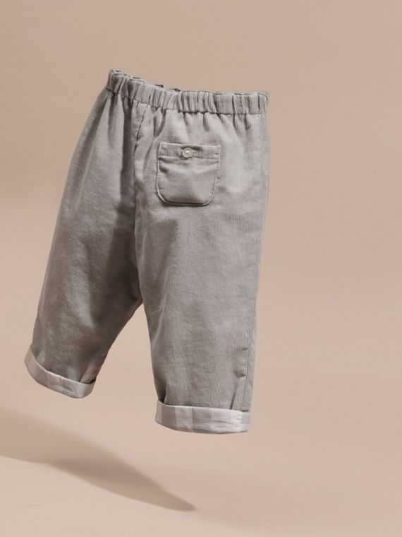 Mid grey Check Turn-Up Cotton Trousers - cell image 3