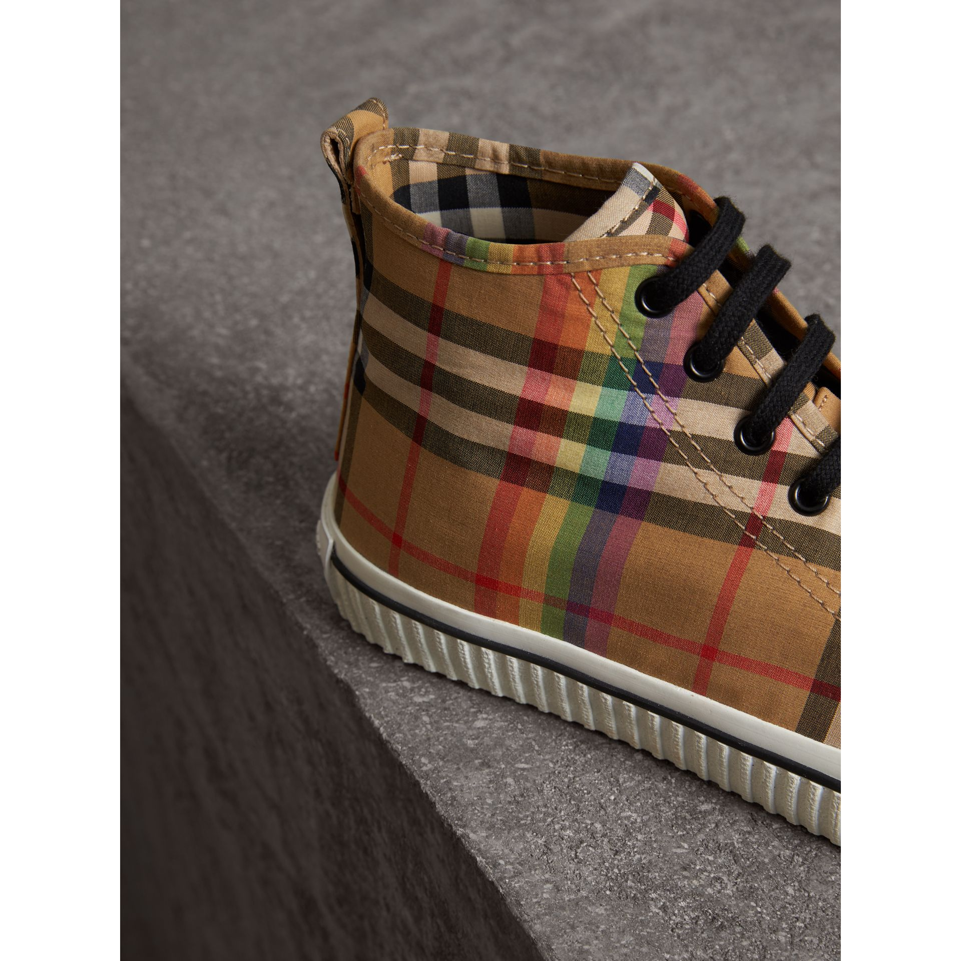Rainbow Vintage Check High-top Sneakers in Antique Yellow - Men | Burberry Australia - gallery image 1