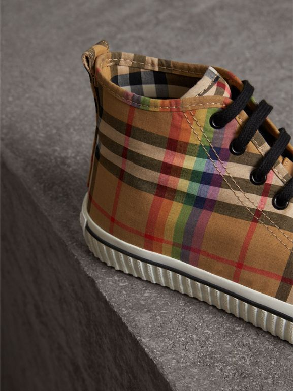 Rainbow Vintage Check High-top Sneakers in Antique Yellow - Men | Burberry Australia - cell image 1