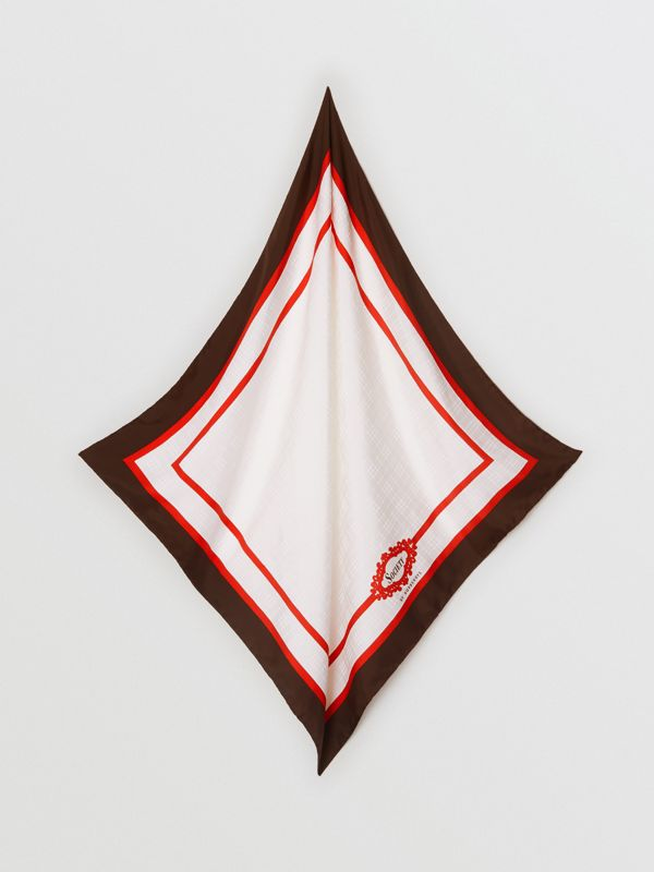 Archive Society Print Silk Square Scarf in Mahogany | Burberry - cell image 3