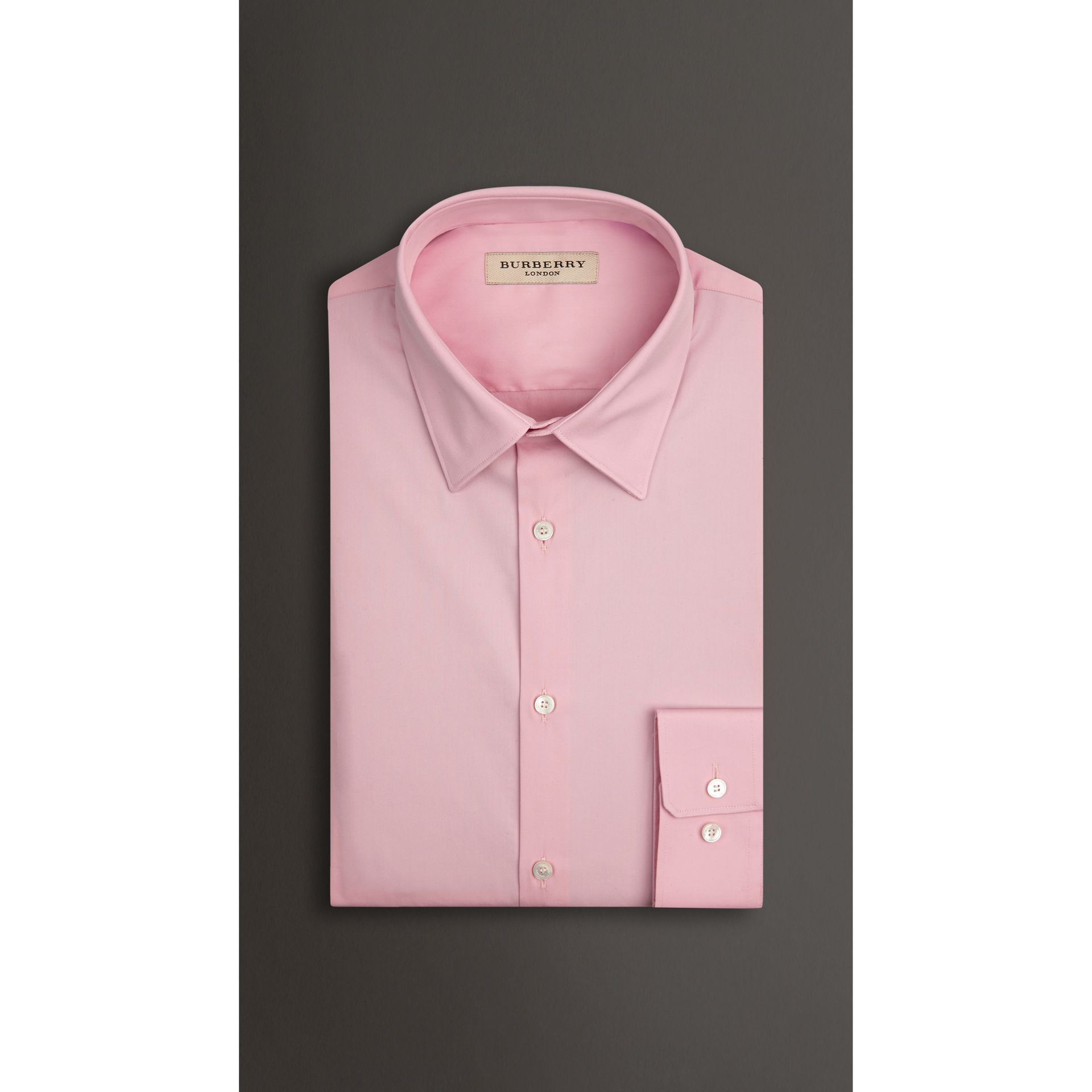 Slim Fit Stretch Cotton Blend Shirt in City Pink - gallery image 3
