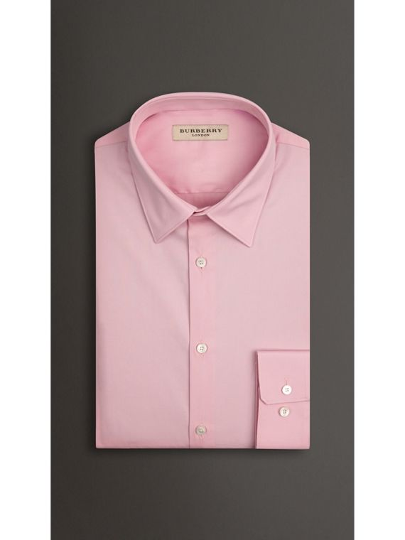 Slim Fit Stretch Cotton Blend Shirt in City Pink - cell image 2