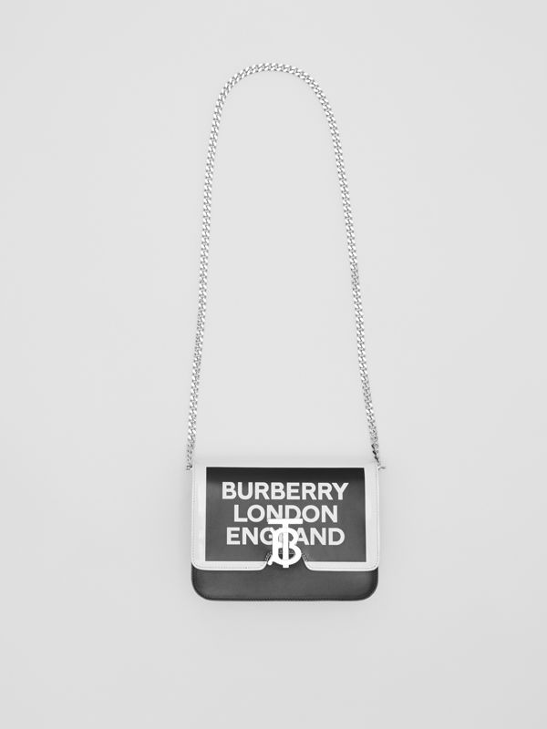 Small Logo Print Leather TB Bag in Black/white - Women | Burberry United Kingdom - cell image 3