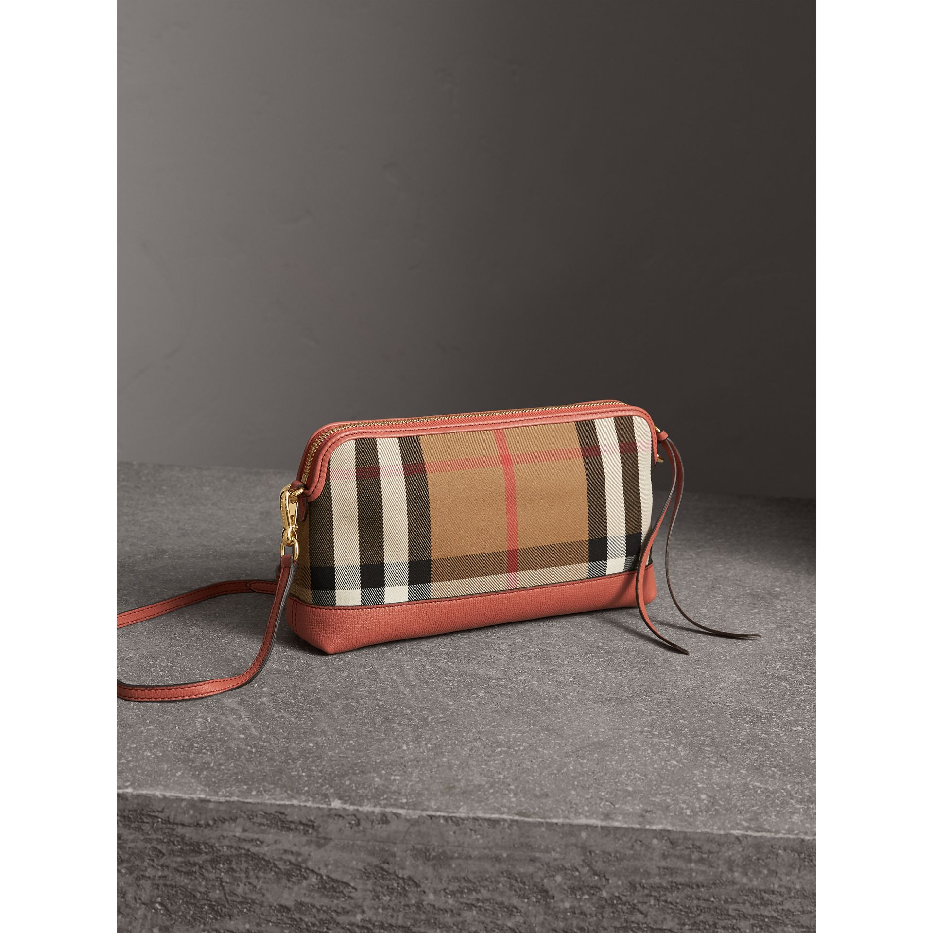 House Check and Leather Clutch Bag in Cinnamon Red - Women | Burberry Singapore - gallery image 5