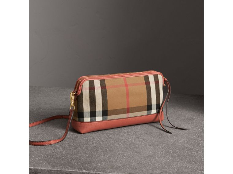 House Check and Leather Clutch Bag in Cinnamon Red - Women | Burberry Singapore - cell image 4