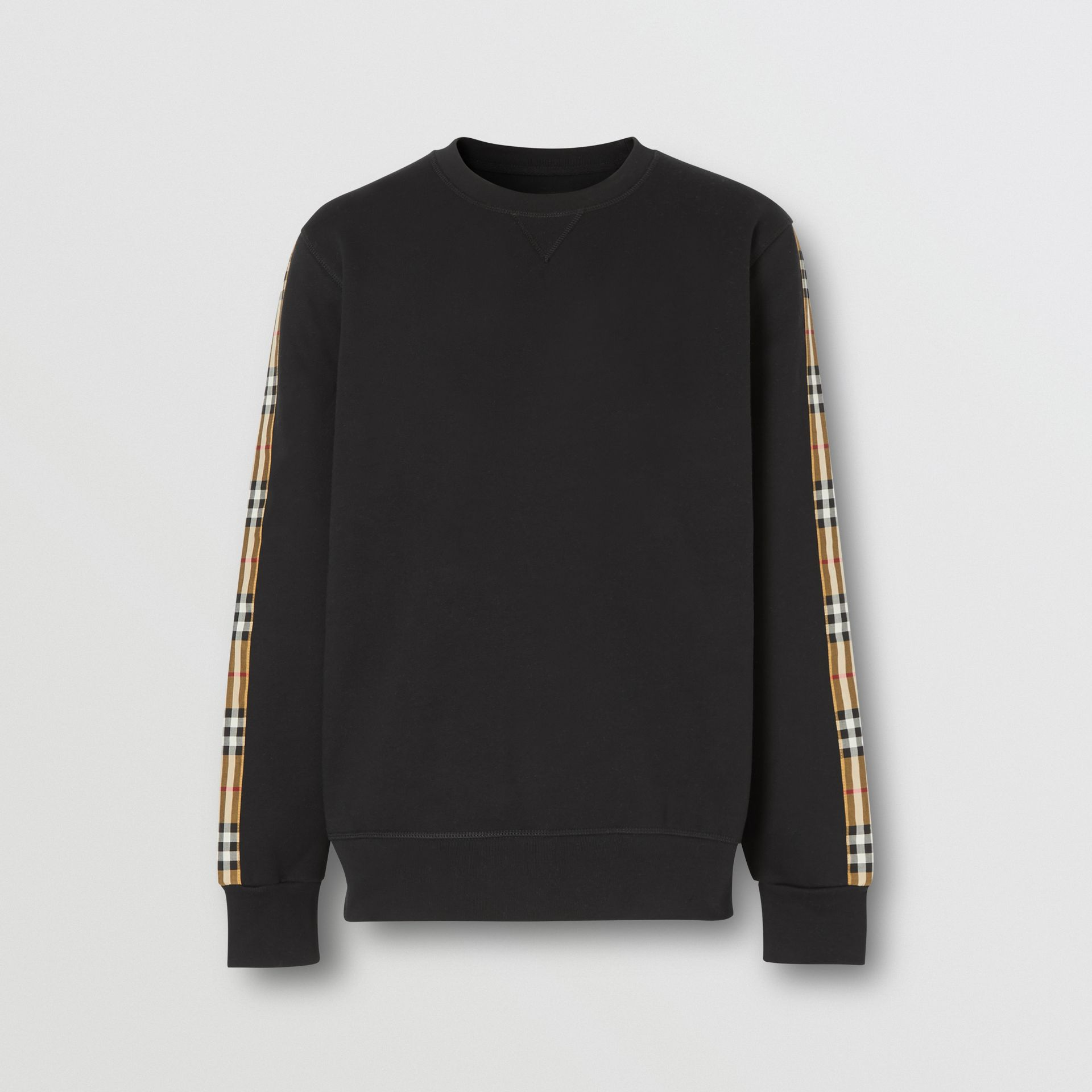 Vintage Check Panel Jersey Sweatshirt in Black - Men | Burberry - gallery image 3