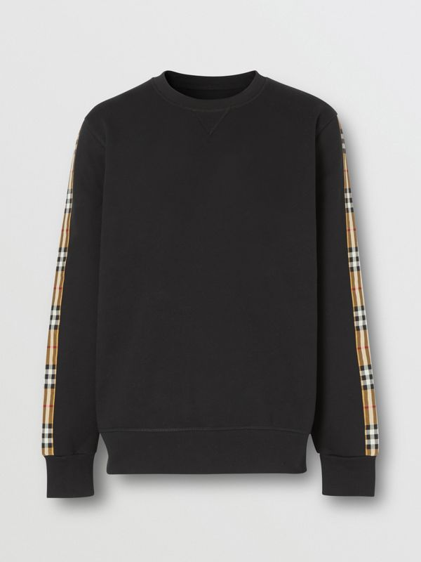 Vintage Check Panel Jersey Sweatshirt in Black - Men | Burberry - cell image 3