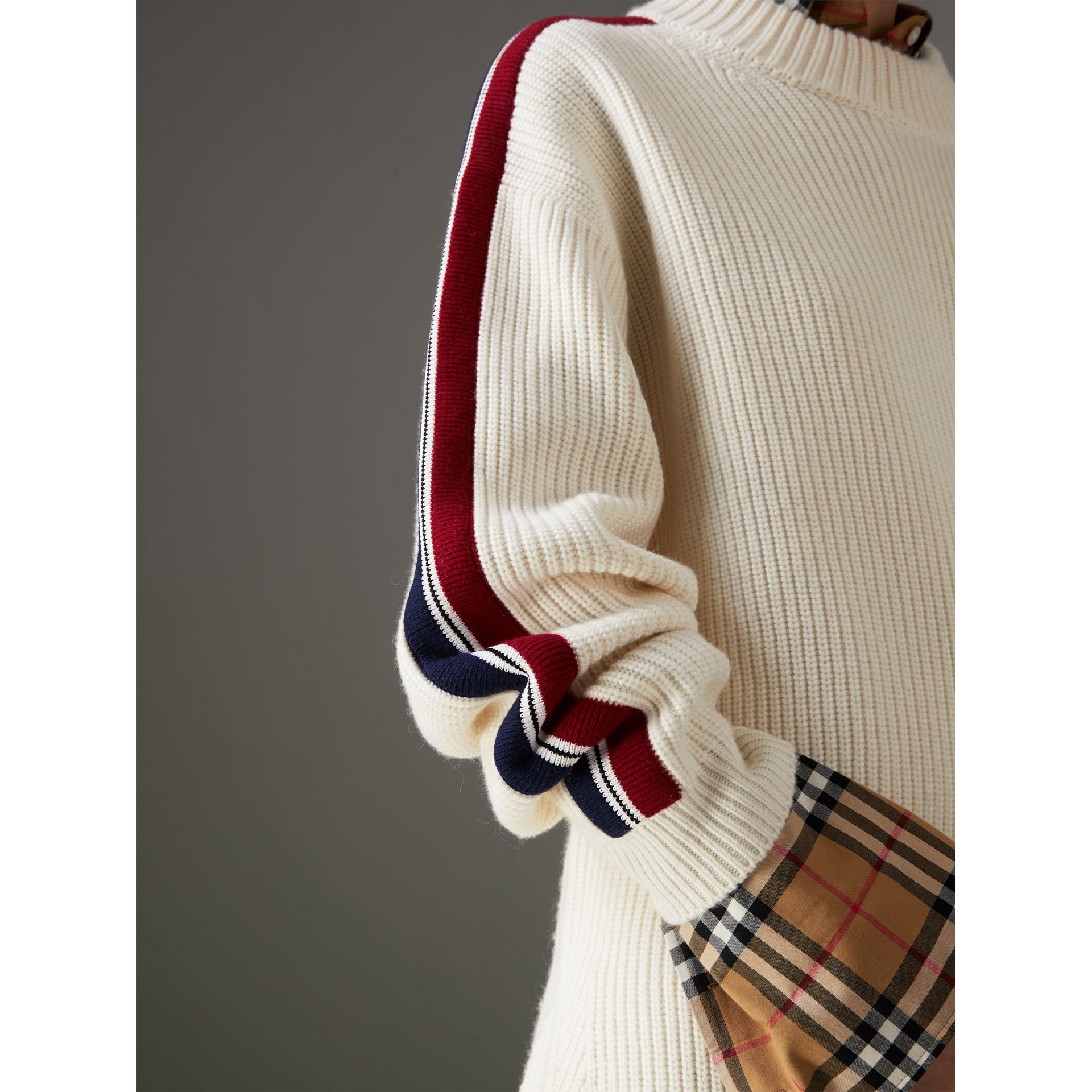 Stripe Detail Wool Cashmere Oversized Sweater in Natural White - Women | Burberry - gallery image 1