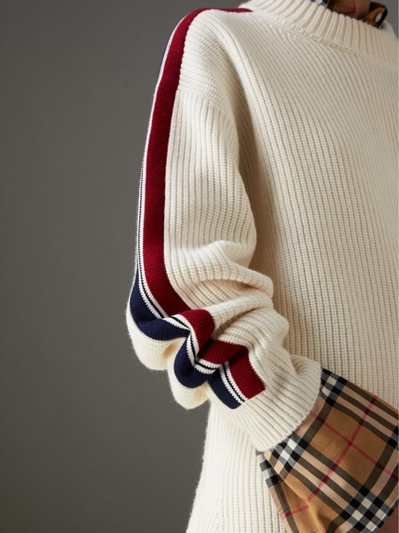 Stripe Detail Wool Cashmere Oversized Sweater in Natural White - Women | Burberry - cell image 1