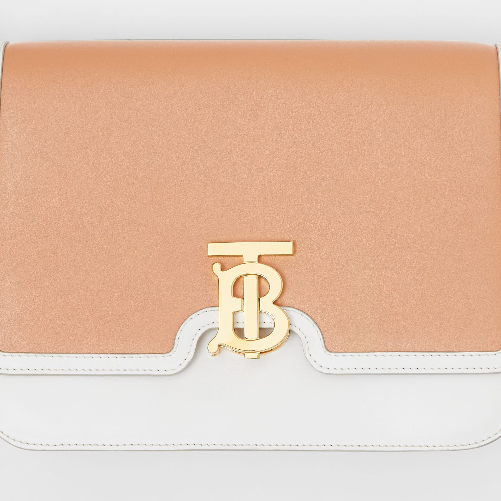 Medium Two-tone Leather TB Bag in Chalk White/light Camel - Women | Burberry United States - gallery image 1