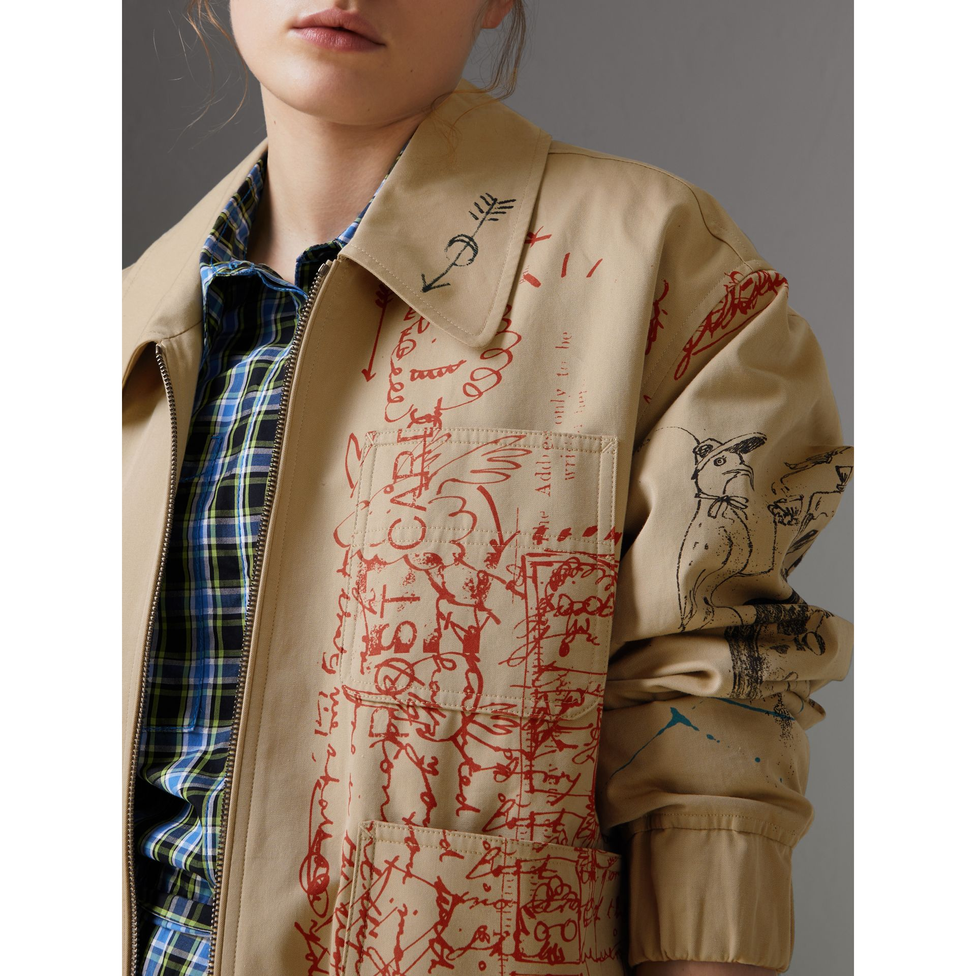Postcard Print Tropical Gabardine Harrington Jacket in Honey - Women | Burberry - gallery image 1