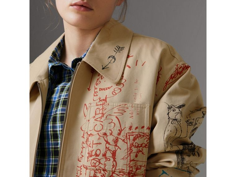 Postcard Print Tropical Gabardine Harrington Jacket in Honey - Women | Burberry - cell image 1