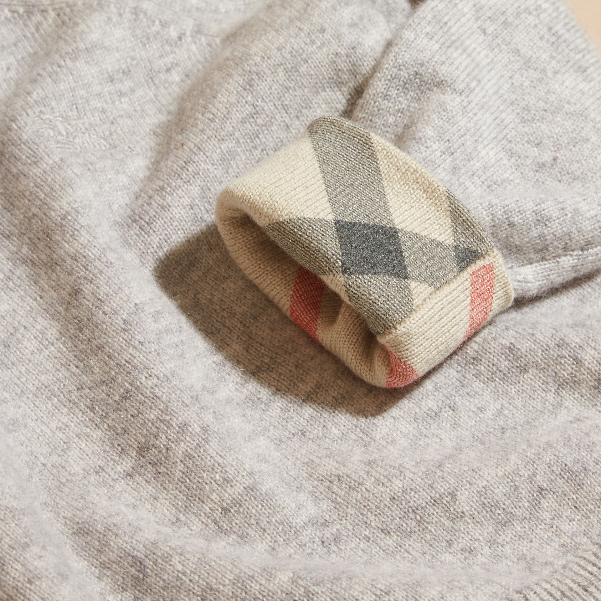 Light grey melange Check Cuff Cashmere Sweater Light Grey Melange - gallery image 2