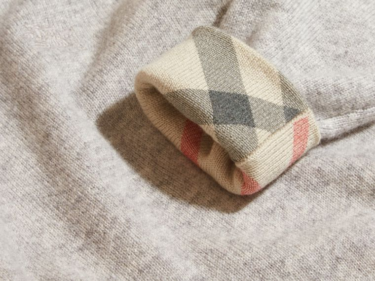 Light grey melange Check Cuff Cashmere Sweater Light Grey Melange - cell image 1