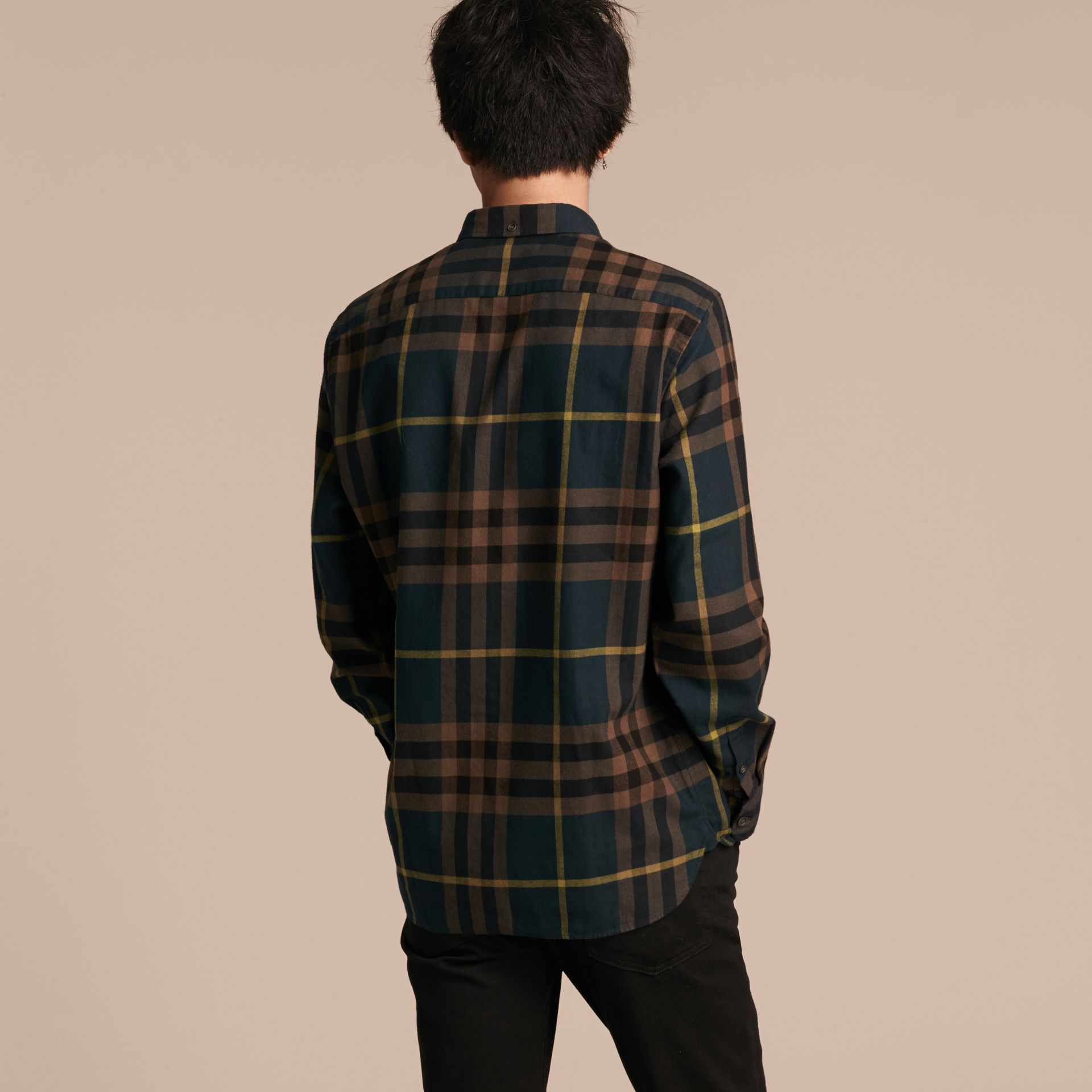 Dark teal green Check Cotton Flannel Shirt Dark Teal Green - gallery image 3