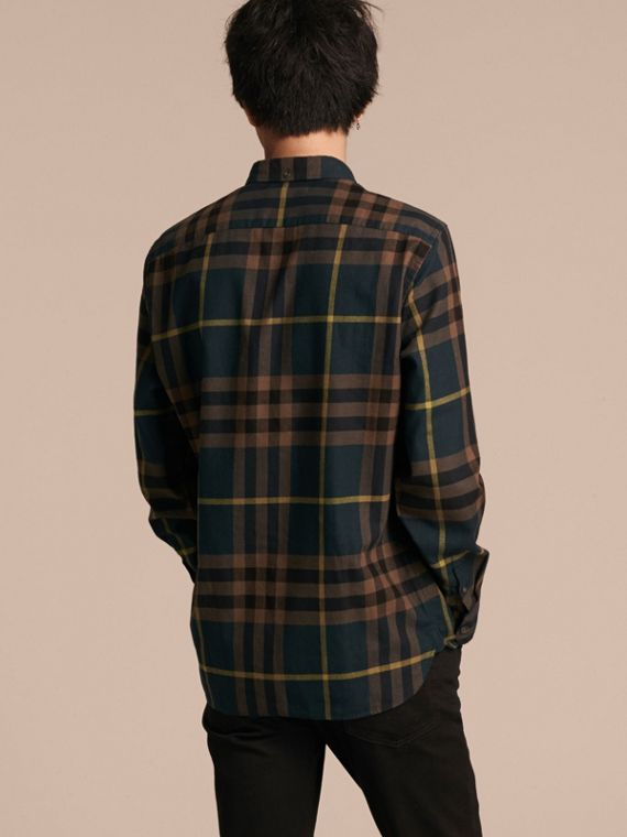 Dark teal green Check Cotton Flannel Shirt Dark Teal Green - cell image 2