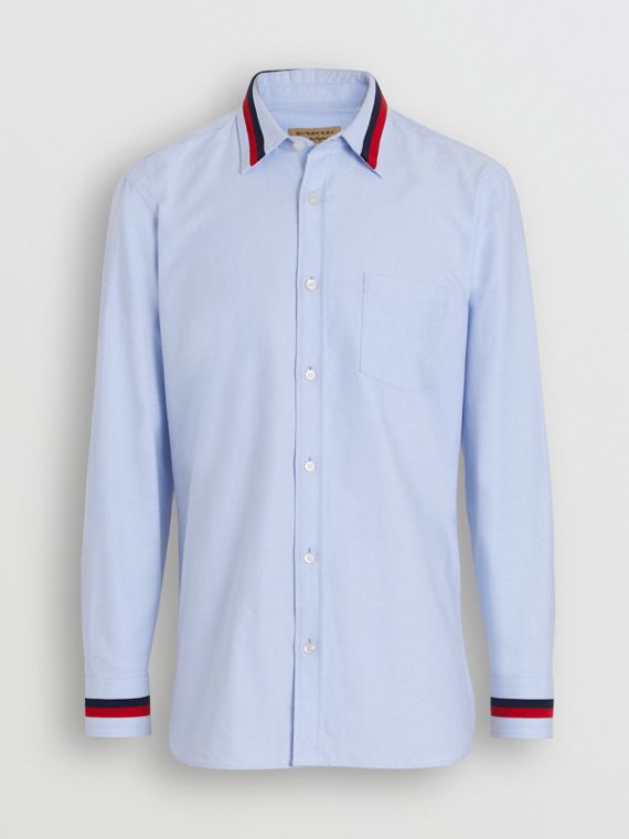 Knitted Detail Cotton Oxford Shirt in Cornflower Blue